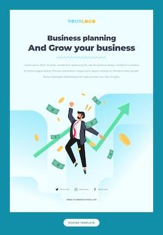 フラットなキャラクターイラストのポスターテンプレート成長するビジネス