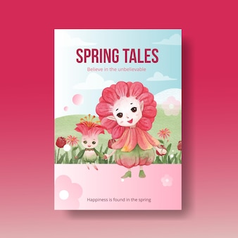 Poster template with floral character concept  watercolor illustration