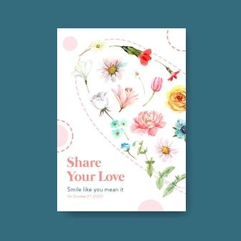 世界の笑顔の日コンセプトの広告とマーケティングの水彩ベクトルイラストをイラストに花束デザインのポスターテンプレート。