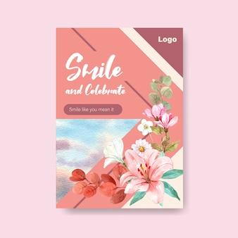 Шаблон плаката с дизайном букета цветов для концепции всемирного дня улыбки для рекламы и маркетинговой акварельной векторной иллюстрации.