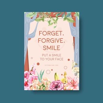 Modello di poster con disegno di bouquet di fiori per il concetto di giornata mondiale del sorriso per annunci e illustraion di vettore dell'acquerello di marketing.
