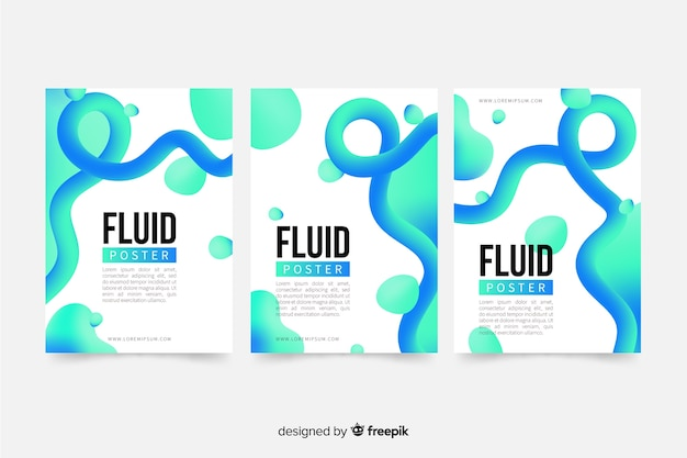 Poster template with fluid shapes