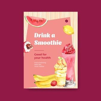 Modello di poster con il concetto di frullati di frutta