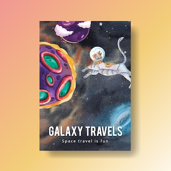 Poster template with galaxy concept design watercolor illustration