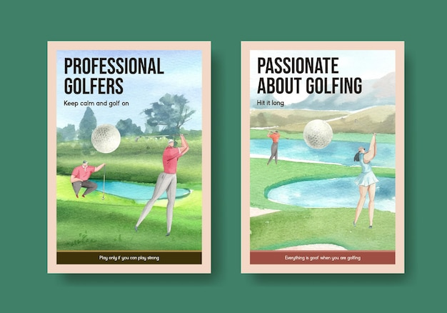 Poster template with golf lover in watercolor style