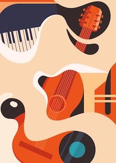Шаблон плаката с гитарой и фортепиано. джазовый концепт-арт.