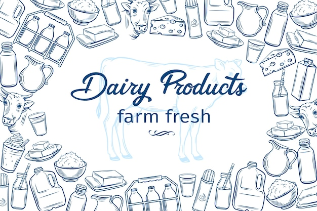 Poster template with hand drawn dairy products for farmers market menu