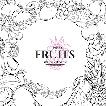 Poster template with hand drawn fruits for