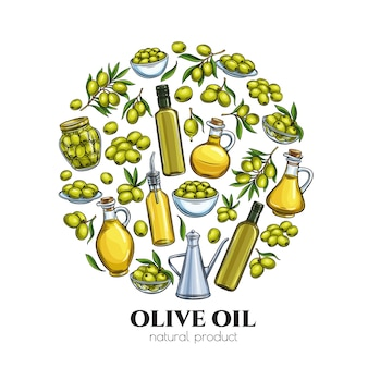 Poster template with hand drawn sketch olives, tree branches, glass bottle, jug , metal dispenser and olive oil for farmers market packaging design.  illustration in retro style.