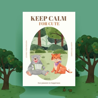 행복 한 동물 개념 수채화 일러스트 포스터 템플릿