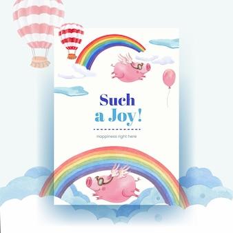 Шаблон плаката с акварельной иллюстрацией концепции счастливых животных