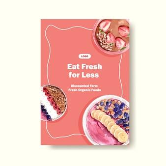 Шаблон плаката с дизайном здоровых и органических продуктов питания