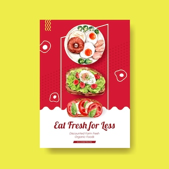 Poster template with healthy and organic food design