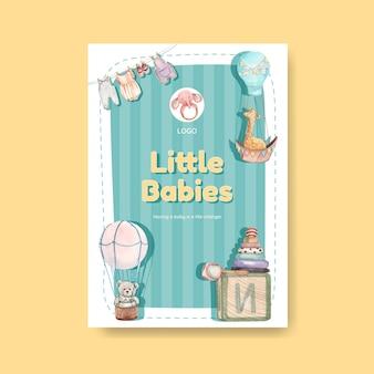 Шаблон плаката с концепцией hello baby