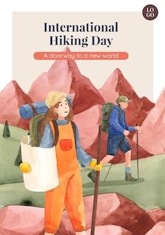 水彩風のハイキングとポスターテンプレート