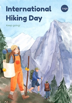 Poster template with hiking in watercolor style