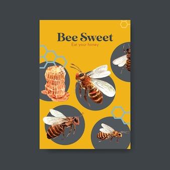 Шаблон плаката с медовым концептуальным дизайном для маркетинга и акварельной векторной иллюстрацией буклета