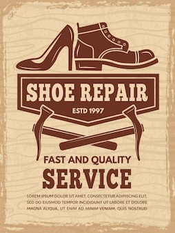Poster template with illustrations of shoe repair workshop