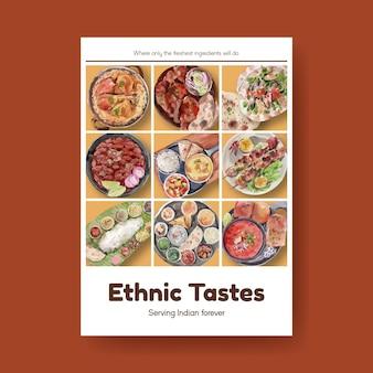 Modello di poster con cibo indiano