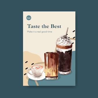 Шаблон плаката с концептуальным дизайном международного дня кофе для буклета и маркетинговой акварели