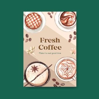 Modello di poster con concept design della giornata internazionale del caffè per volantino e acquerello di marketing