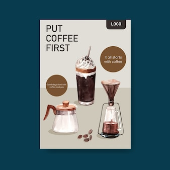 Poster template with international coffee day concept design for leaflet and marketing watercolor