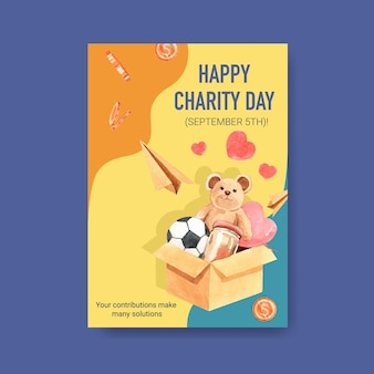 Poster template with international day of charity concept design for brochure and leaflet watercolor.