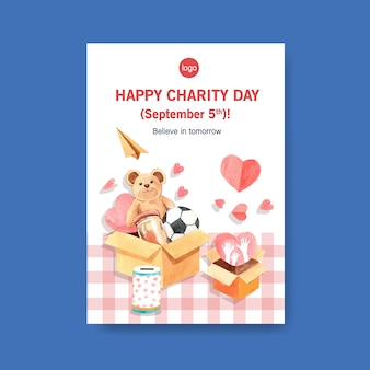 Poster template with international day of charity concept design