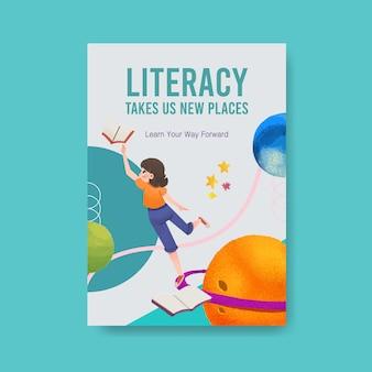 パンフレットやチラシの水彩画の国際識字デーのコンセプトデザインのポスターテンプレート。