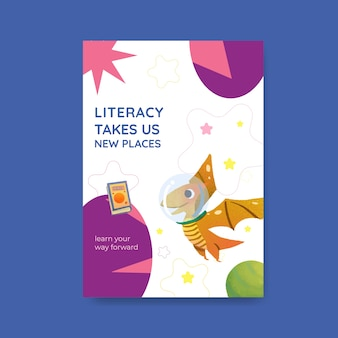 Poster template with international literacy day concept design