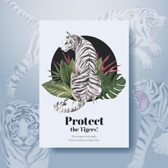 Шаблон плаката с концепцией международного дня тигра, акварельный стиль