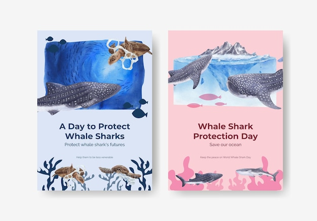 국제 고래 상어의 날 개념 포스터 템플릿
