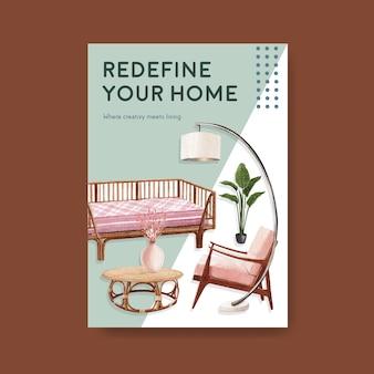 パンフレットや広告の水彩ベクトルイラストのjassa家具コンセプトデザインのポスターテンプレート
