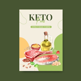 Modello di poster con il concetto di dieta chetogenica per pubblicità e brochure illustrazione dell'acquerello.