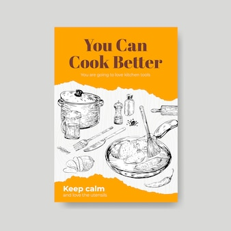 ベクトルイラストを宣伝するためのキッチン家電のコンセプトデザインのポスターテンプレート