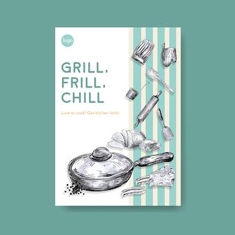 Шаблон плаката с концептуальным дизайном кухонной техники для рекламы векторные иллюстрации
