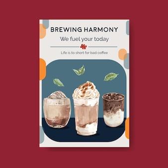 Modello di poster con il concetto di stile caffè coreano per pubblicità e marketing acquerello