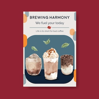 水彩画の宣伝とマーケティングのための韓国のコーヒースタイルのコンセプトのポスターテンプレート