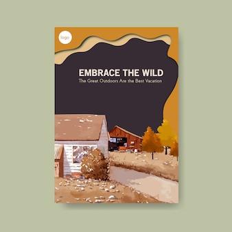 Modello del manifesto con paesaggio nel disegno di autunno. stagione autunnale