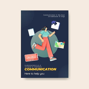 Шаблон плаката с концепцией живого разговора, акварельный стиль