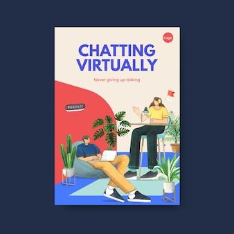 Шаблон плаката с концепцией живого разговора