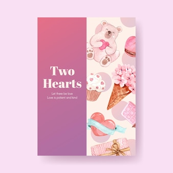 広告とパンフレットの水彩イラストのコンセプトデザインを愛するポスターテンプレート