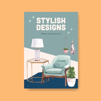 Poster template with luxury furniture in watercolor style