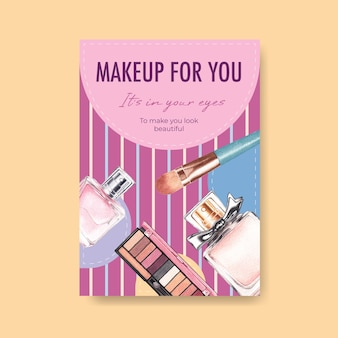 Poster template with makeup concept design for brochure and leaflet watercolor.