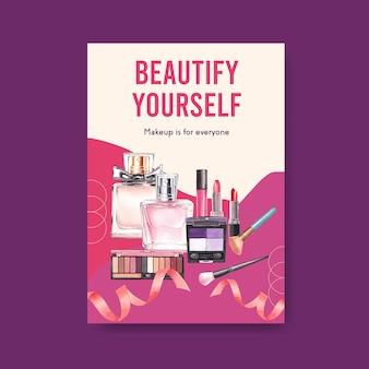 Шаблон плаката с дизайном концепции макияжа для акварели брошюры и листовки.