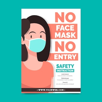 Poster template with medical mask prevention