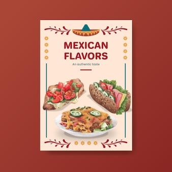 Шаблон плаката с акварельной иллюстрацией дизайна концепции мексиканской кухни