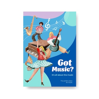 Poster template with music festival concept design for brochure and marketing watercolor vector illustration