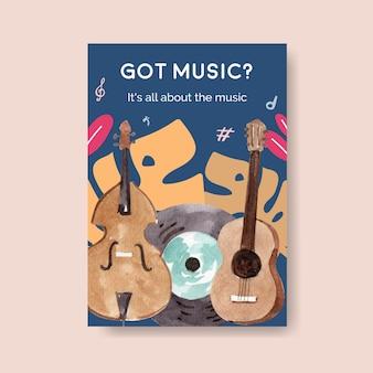 Modello di poster con concept design festival musicale per brochure e illustrazione vettoriale acquerello di marketing