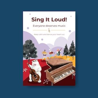 브로셔 및 마케팅 수채화 벡터 일러스트 레이 션을위한 음악 축제 컨셉 디자인 포스터 템플릿